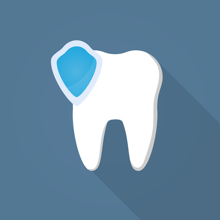 White teeth icon with protection of blue shield Illustration
