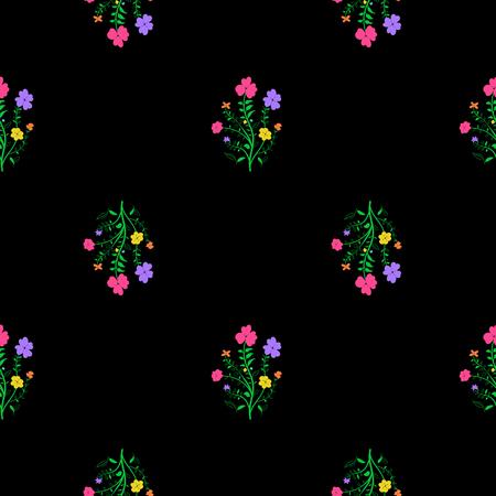 Floral seamless pattern. Black background with vivi flowers. Illustration