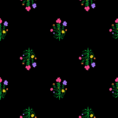 Floral seamless pattern. Black background with vivi flowers. Vettoriali