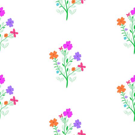 Spring flower. Seamless floral pattern on white background Illustration