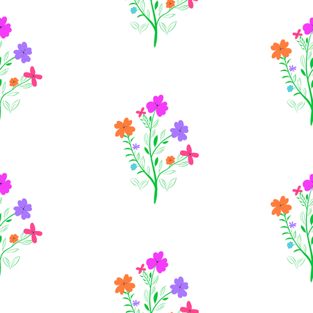 Spring flower. Seamless floral pattern on white background Vectores