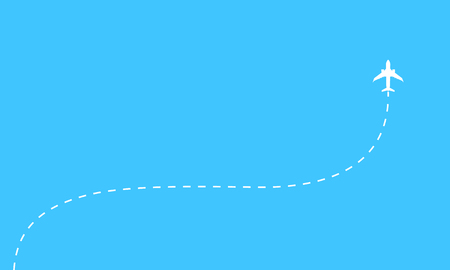 Aerial background concept. Plane icon and dotted line airplane path