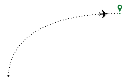 Airplane trace arc. Plane path illustration with destination poin