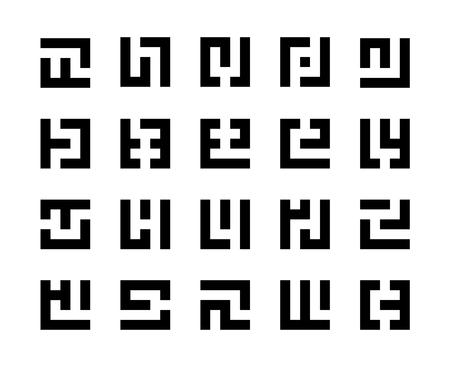 Set of simple maze icons isolated on white background
