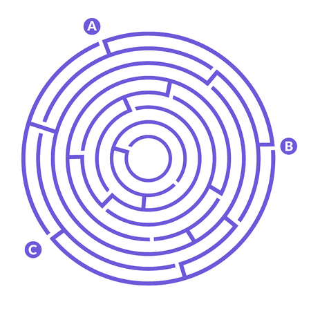 Simple round maze labyrinth game for kids Illustration