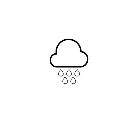 Simple cloud and rain drops line icon