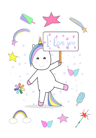 I love you placard with unicorn and fairytail clipart elements