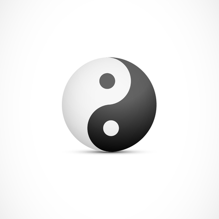 Yin yang badge illustration. Ancient balance symbol