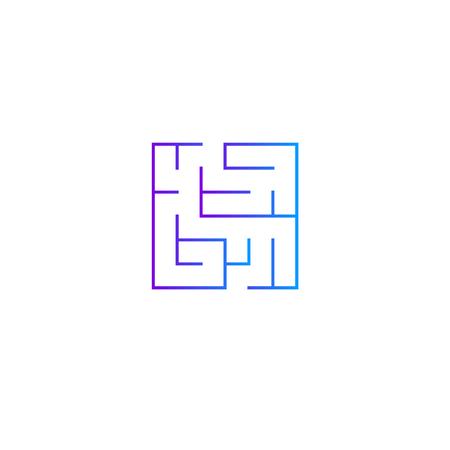 Squared intricacy icon. Gradient color maze game Vettoriali