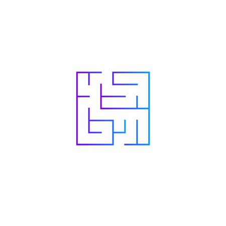 Squared intricacy icon. Gradient color maze game Illustration