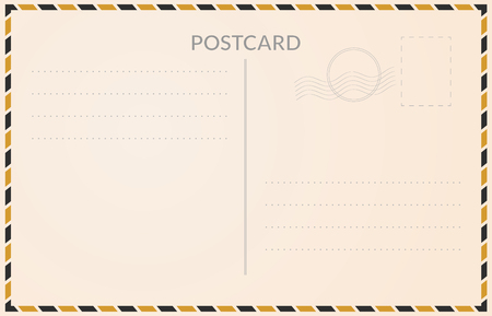 Realistic postcard illustration with empty address fields