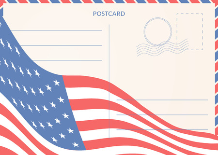 Retro style postcard. Background with an American flag