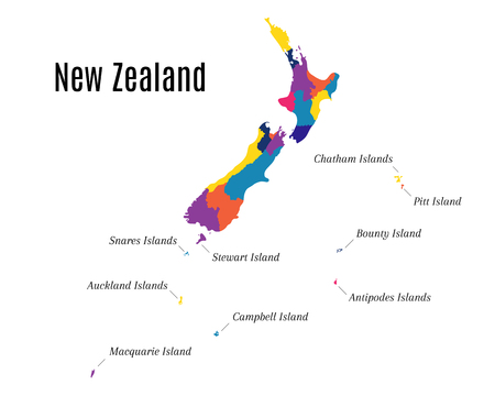 Geographical map on the New Zealand and its islands. State also known as Aotearoa on the maori language Stock Illustratie