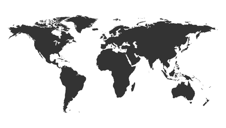 Worldmap backgound template. Isolated map of the world silhouette. 向量圖像