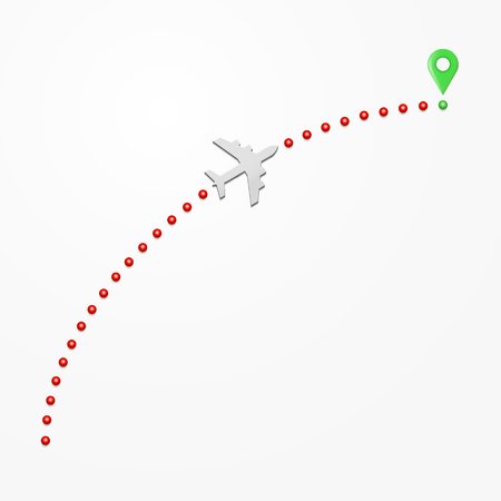 Plane route illustration. Paper airliner and its trace