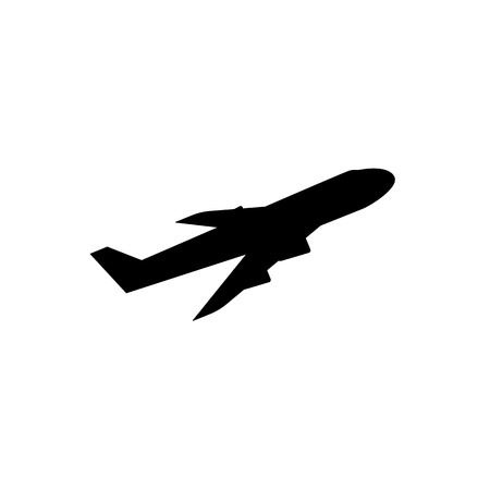 Flying airplane icon. Side view plane silhouette