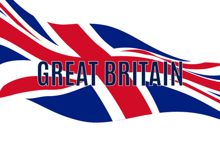 Great Britain text with waving United Kingdom flag Фото со стока - 103935159