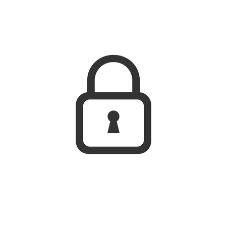 Line lock icon. Black outlined safety sign Banque d'images - 103935156