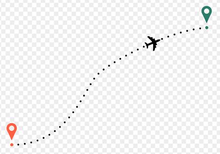 Traccia dell'aeroplano con punti di partenza e arrivo. su sfondo trasparente