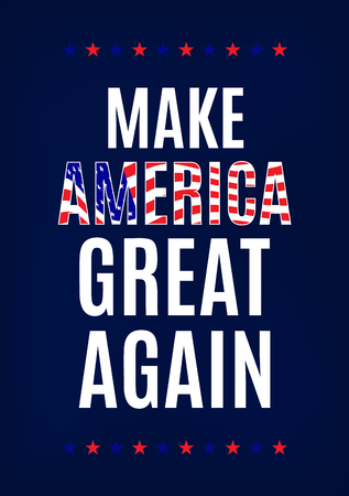Campaign slogan card. Make America great again