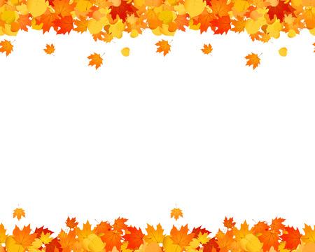 ウェブサイト、広告、装飾のための秋のシームレスなフッターとヘッダーのセット。落ち葉イラスト。 写真素材 - 104431829