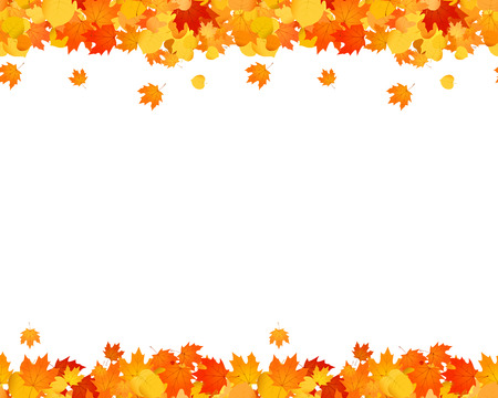 Conjunto de otoño sin costura pie de página y encabezado para sitios web, anuncios, decoración. Ilustración de hojas caídas.