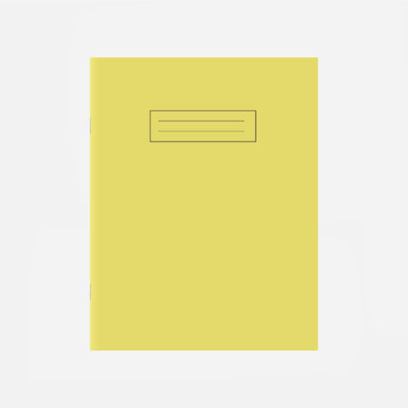 Yellow school exercise book cover template. Blank workbook top page