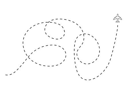 Plane track on white background for design