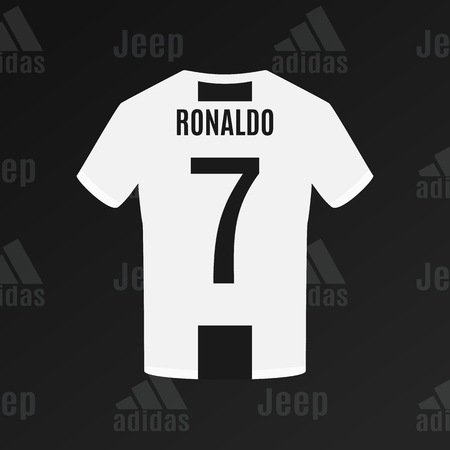 UKRAINE - CHERKASY JULY 17, 2018 Ronaldo's Juventus football t-shirt with number 7