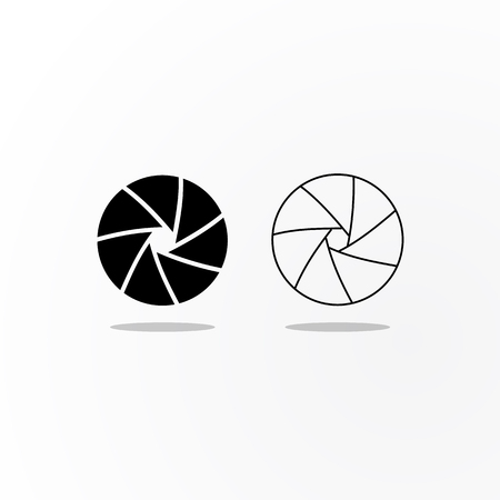 Black and outlined icons of camera shutter diaphragm