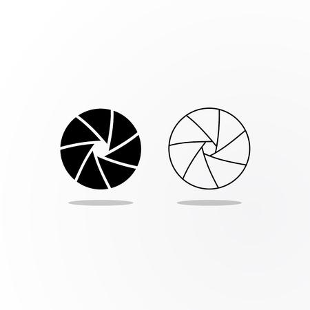 Zwarte en geschetste pictogrammen van het diafragma van de camerasluiter