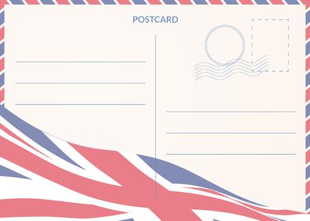 Postcard template with United Kingdom waving flag