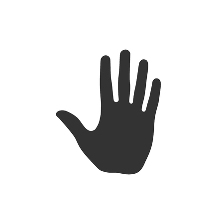 Open human palm hand illustration. High five symbol isolated on white background
