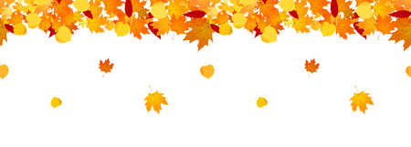 Autumn falling leaves seamless header for websites and decor Vettoriali
