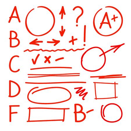 Set of grade latters and teacher marks Illustration