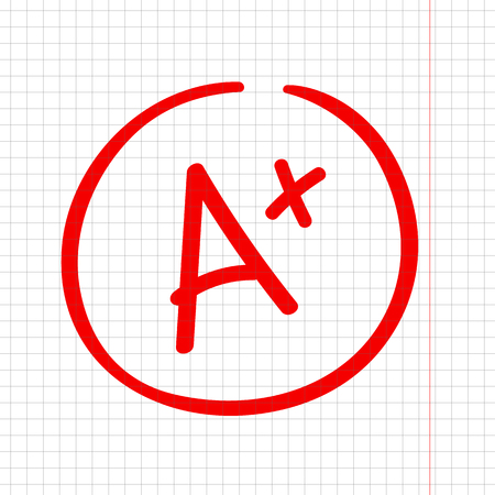 A plus grade mark. Best result sign. Excellent done
