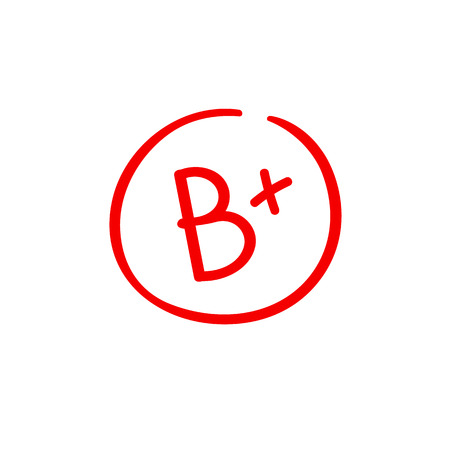 B plus examination result grade red latter mark Ilustração Vetorial