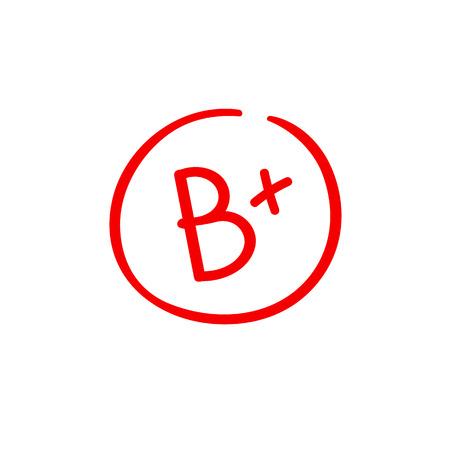 B plus note de résultat d'examen rouge dernière note Vecteurs