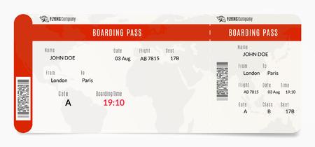Aerial boarding pass. Plane ticket design. Airplane template illustration Illustration