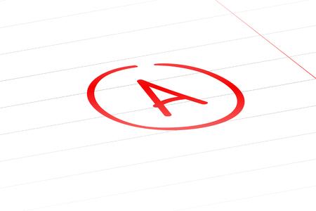 A examination result grade latter red mark sign