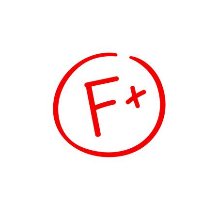 F plus examination result grade red latter mark Illustration