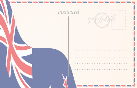 blank postcard with new zealand flag on background royalty free