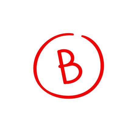 B examination result grade red latter mark Ilustracje wektorowe