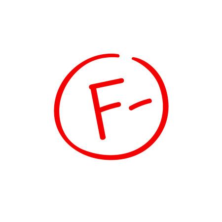 F minus examination result grade red latter mark