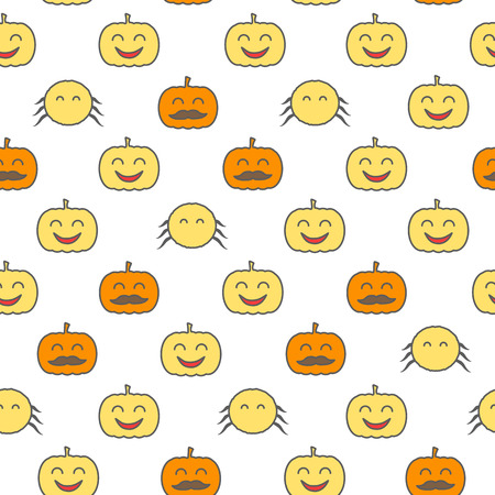 Halloween loopable background. Spider and jack o lantern seamless pattern Illustration
