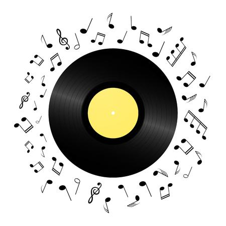 Retro vinyl record card background. Vintage 1980s music illustration. Ilustração Vetorial