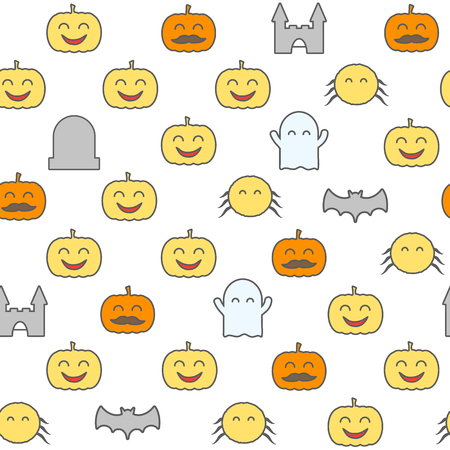 Halloween seamless pattern with cute and funny festive elements. Loopable background