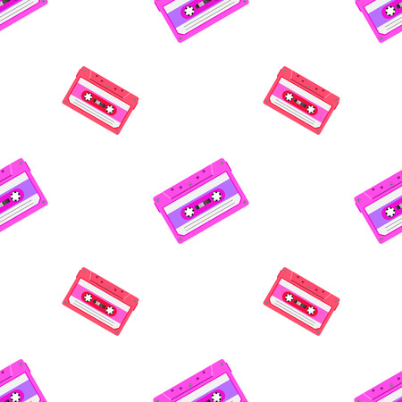 Retro seamless background with audio tapes. Magnetic audiotapes tileable pattern