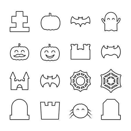 Lined halloween related icons set. Collection of thin line cute decorative elements Illustration