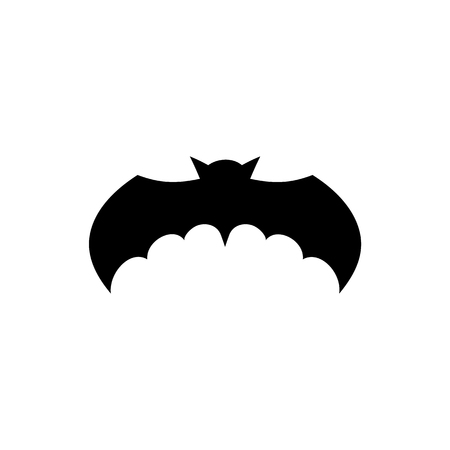 Bat black silhouette isolated on white background